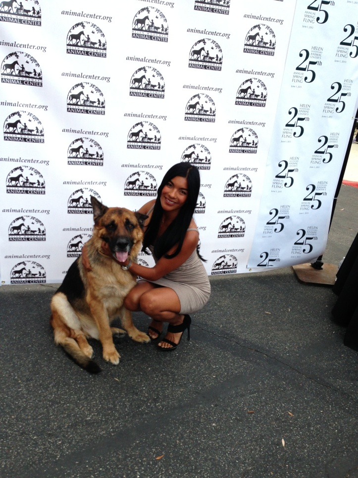 Barking Beast Founder Tania Milberg with Guest of Honor, Police Enforcement and Service Dog Rooter at the Helen Woodward Gala 2013