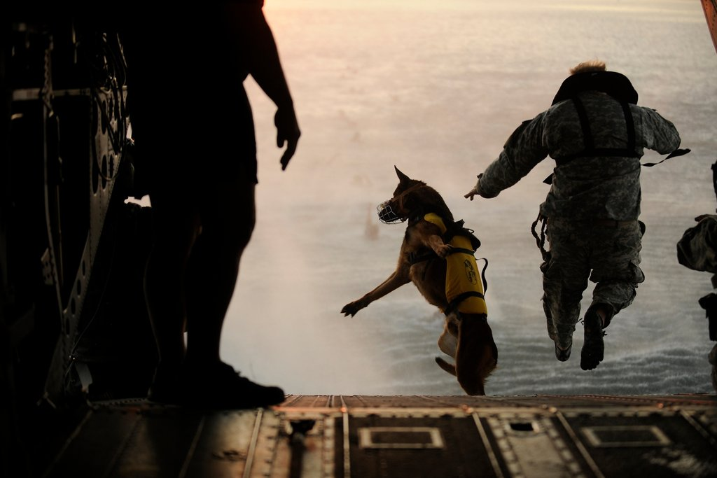 Making a practice jump with soldiers of the 10th Special Forces Group over the Gulf of Mexico